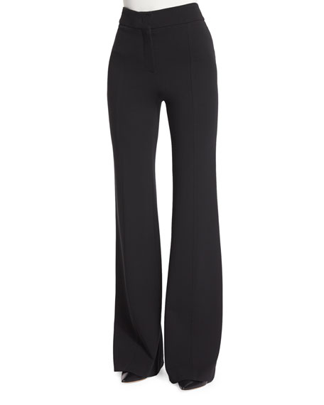 Georgia Crepe Flare-Leg Pants, Black