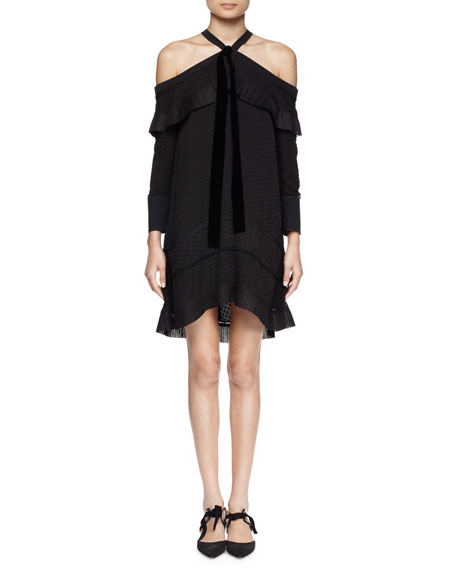 Off-The-Shoulder Halter-Neck Dress, Black