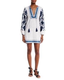Salma Embroidered Long-Sleeve Peasant Dress, White/Blue
