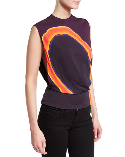 Sleeveless Swirl-Print Top, Purple