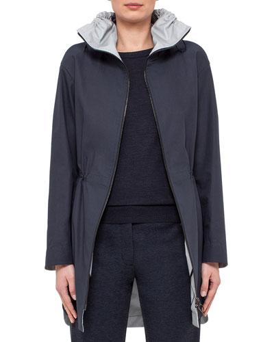 Tech Fabric Short Parka Jacket, Navy/Cliff