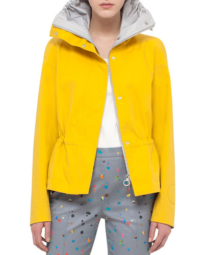 Tech Fabric Short Parka Jacket, Xanthoria