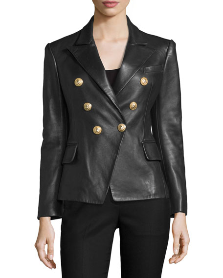 Balmain Classic Leather Double-Breasted Blazer