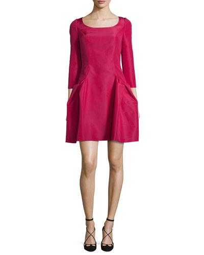 3/4-Sleeve Faille Party Dress, Raspberry