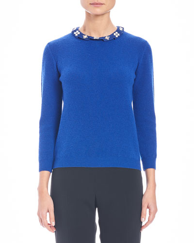 Knit Cashmere Sweater w/Embellished Collar, Cobalt