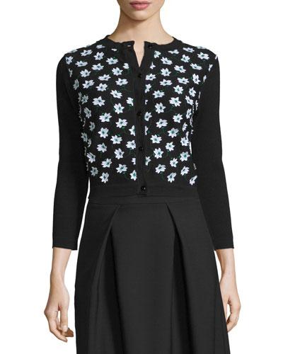 3/4-Sleeve Floral-Embellished Cardigan, Black/Green/White