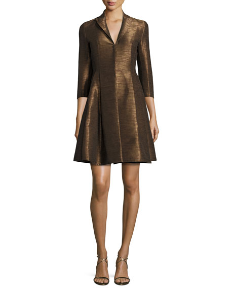 Metallic 3/4-Sleeve Trench Dress, Brown