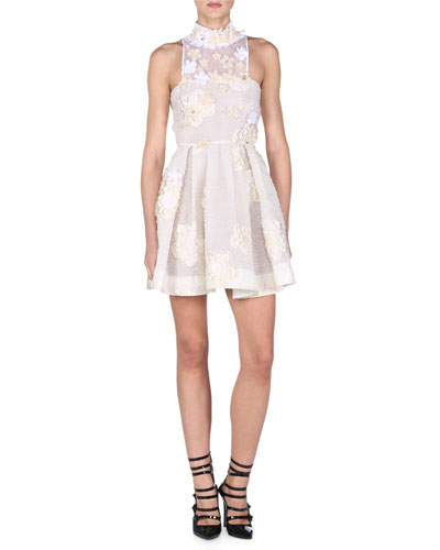 Flowerland Mock-Neck Cocktail Dress, White
