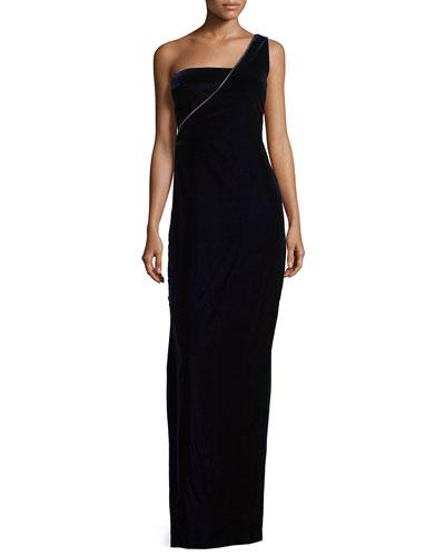 One-Shoulder Velvet Column Gown, Royal Purple