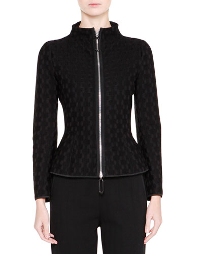 Mock-Neck Zip-Front Jacket, Black