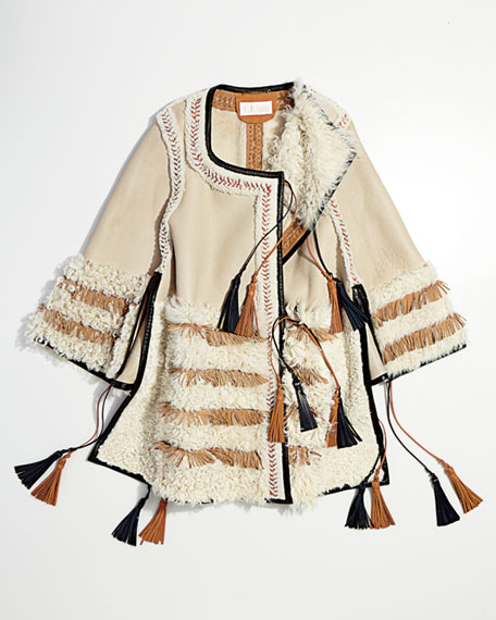 Stitched Shearling Fur Poncho, Natural