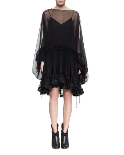 Sheer Silk Bell-Sleeve Ruffle Dress, Black