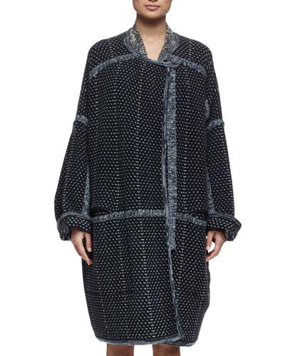 Oversized Tweed Sweater Coat, Green/Navy