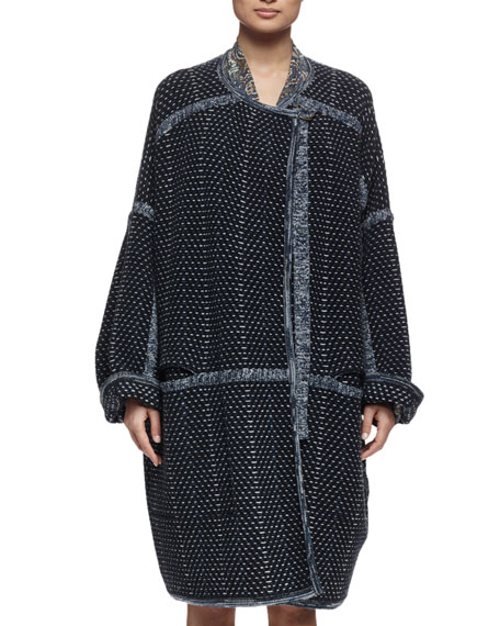 Chloe Oversized Tweed Sweater Coat & Long-Sleeve Tile-Print Tiered ...