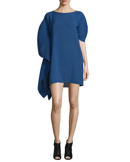Asymmetric Pleated-Sleeve Dress, Cobalt