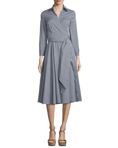 Long-Sleeve Wrap Shirtdress, Black/Off White
