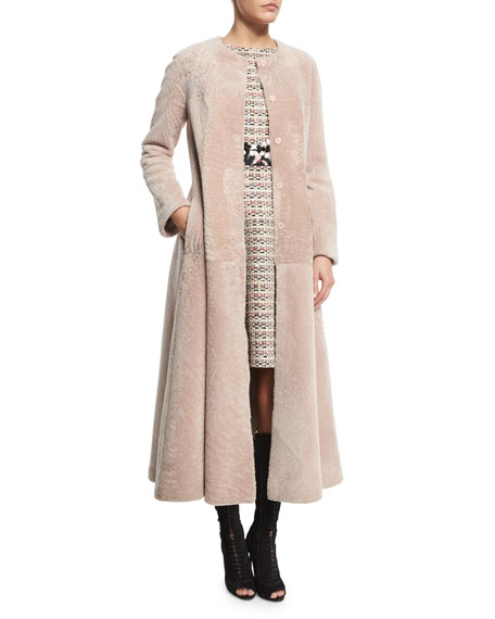 Long Button-Front Shearling Fur Coat, Taupe