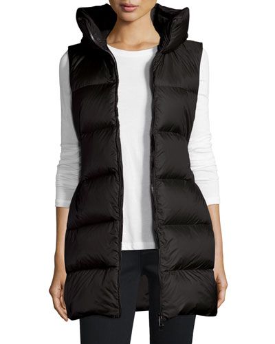 Glykeria Long Hooded Puffer Vest, Black