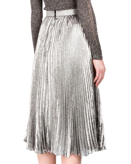 22dd4f03e Christopher Kane Metallic Accordion-Pleated Midi Skirt, Silver