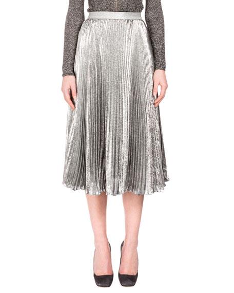 Christopher Kane Metallic Accordion-Pleated Midi Skirt, Silver