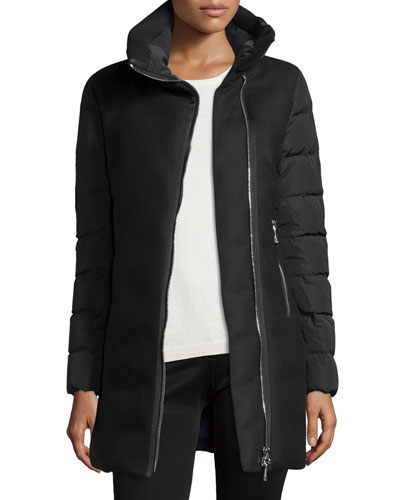 Aglaia Wool Coat w/Quilted Combo, Black