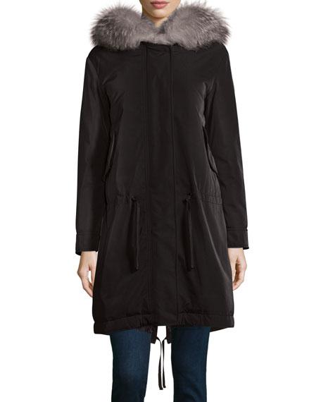 Veronika Fur-Lined Gabardine Coat, Black