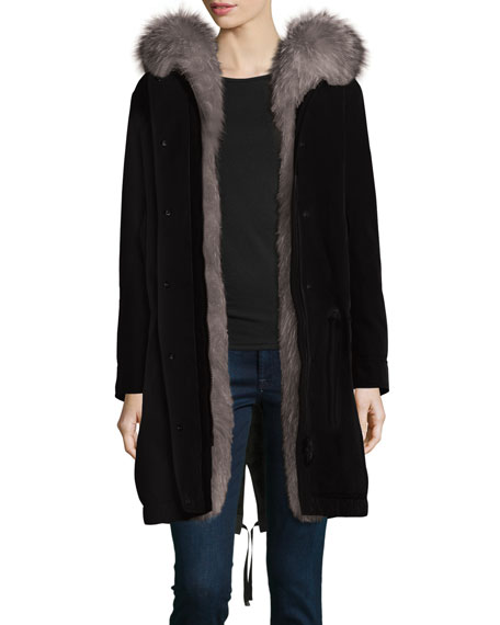 Moncler Veronika Fur-Lined Gabardine Coat, Black