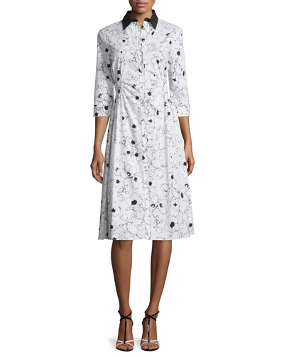 Floral-Print Ruched Cotton Shirtdress, Black/White