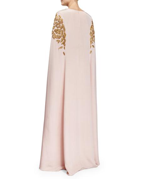 Floral Appliqué Caftan Gown, Soft Pink/Gold