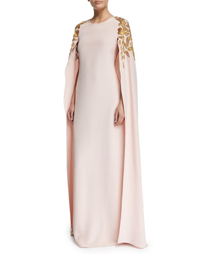 Floral Appliqué Caftan Gown, Soft Pink/Gold