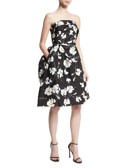 Orchid-Print Techno Taffeta Strapless Dress, Black