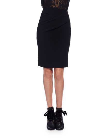 Ruched Wool-Blend Pencil Skirt