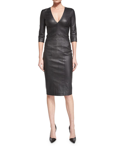 3/4-Sleeve V-Neck Leather Dress, Black