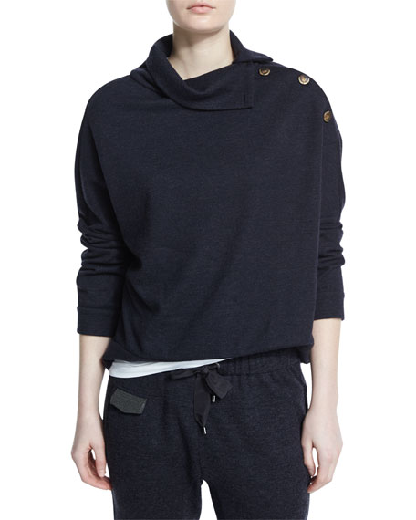 Mock-Neck Button-Shoulder Cashmere Sweater, Navy