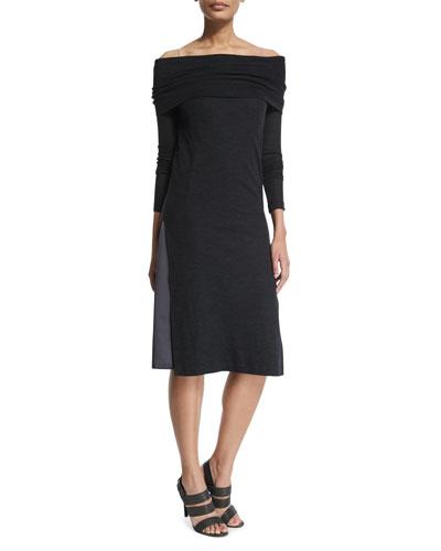 Off-the-Shoulder Wool Jersey Monili Dress, Onyx