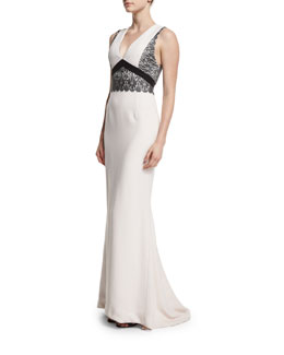 Sleeveless V-Neck Gown w/Contrast Lace Trim, Blush/Gray