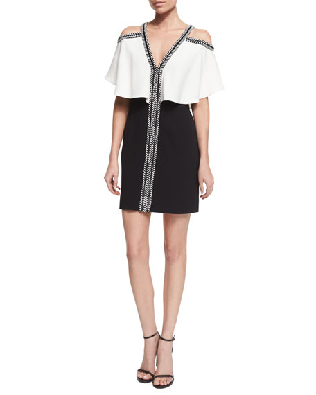J. Mendel Ruffled Cold-Shoulder Combo Dress, Ivory/Black