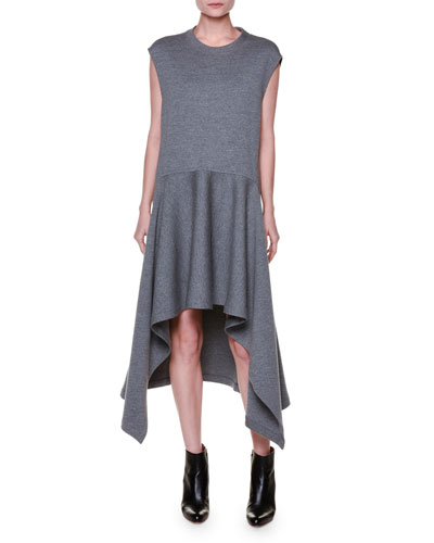 Cap-Sleeve Wool Jersey High-Low Dress, Light Gray