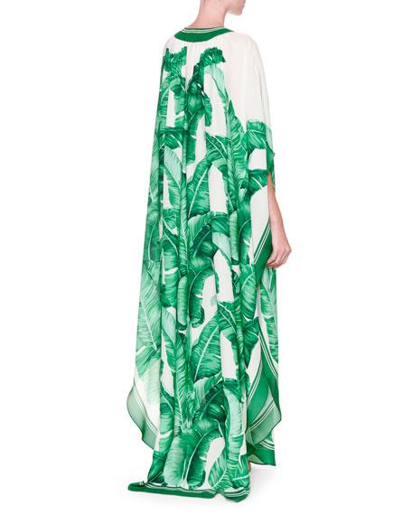 Banana Leaf-Print Silk Caftan