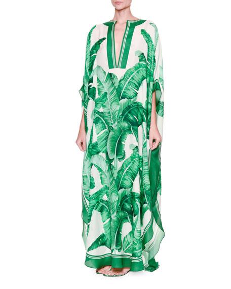 f10afcf8 Dolce & Gabbana Banana Leaf-Print Silk Caftan