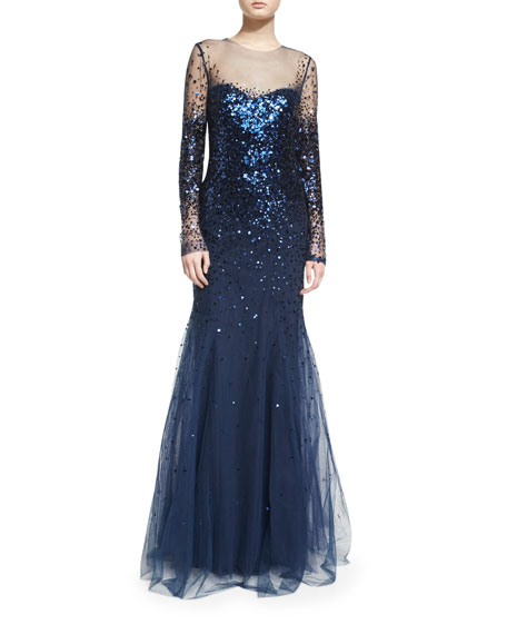 Long-Sleeve Degrade Sequin Illusion Gown, Midnight