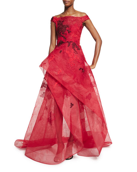 Off-the-Shoulder High-Low Lace Gown, Dark Red