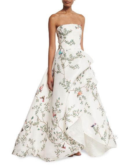 Strapless Bird-Print Silk Gazar Gown, White/Multi