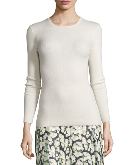 Long-Sleeve Open-Back Sweater, Ivory