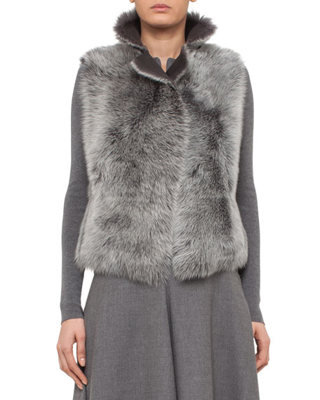 Akris punto Reversible Toscana Lamb Fur Vest, Cliff