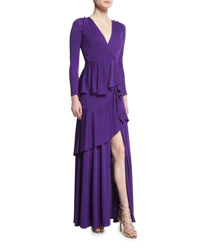 Long-Sleeve Ruffled Jersey Gown, Purple