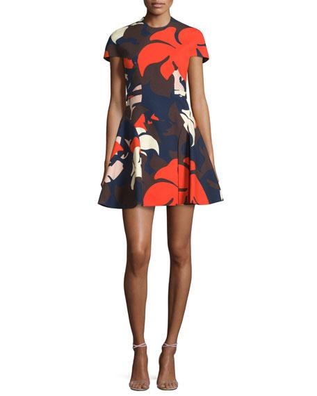 Delpozo Short-Sleeve Floral-Print Dress w/Detachable Collar
