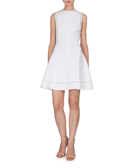 Victoria Beckham Sleeveless Fit & Flare Dress, White