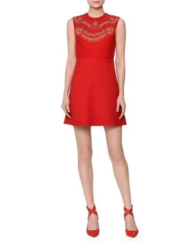 Sleeveless Beaded Crepe Couture Dress, Red