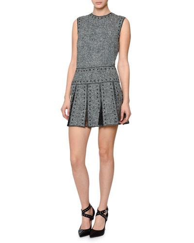 Sleeveless Studded Tweed Dress, Black/Ivory